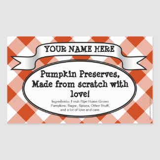 Personalized Canning Jar Label, Orange Gingham Rectangle Sticker