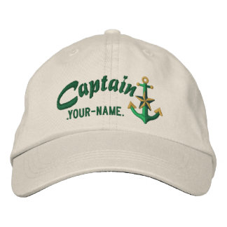 Personalized Captain Nautical Anchor Name Green Embroidered Hat