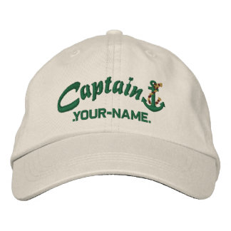 Personalized Captain Rope Anchor Name Green Embroidered Hat