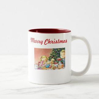 Personalized Christmas Coffee Mugs-Old Fashioned M Two-Tone Mug