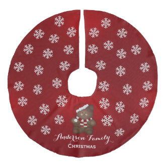 Personalized Christmas Teddy Bear Tree Skirt Red