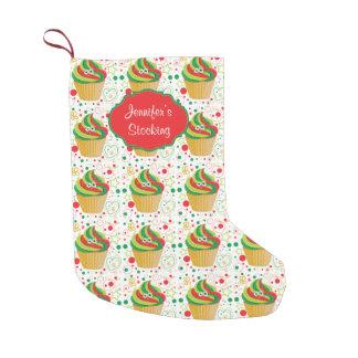 Personalized Christmas Xmas Funny Smiley Cupcake 2 Small Christmas Stocking