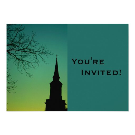 Personalized Church Steeple Baptism Personalized Invites