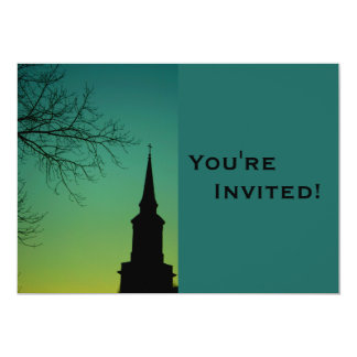 "Personalized Church Steeple Baptism 5"" X 7"" Invitation Card"