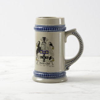 Personalized Coat of Arms Stein - Blue Coffee Mugs