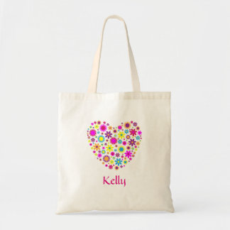 Personalized Colorful Floral Heart Shape Tote Bag