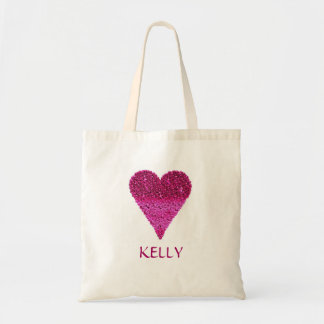 Personalized Colorful Purple Heart Tote Bag