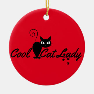 PERSONALIZED COOL CRAZY CAT LADY Add Name on Back Round Ceramic Decoration