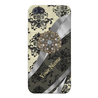 Personalized cream and black damask iPhone 5/5S covers
