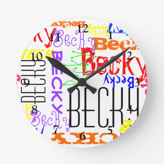 Personalized Custom Name Collage Colorful Round Clock
