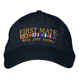 Personalized Custom Your First Mate Nautical Flags Embroidered Hat