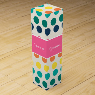 Personalized Cute Colorful Polka Dots Wine Gift Box