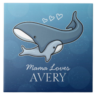 Personalized Cute Mom Baby Whale, Add Kids Name Large Square Tile
