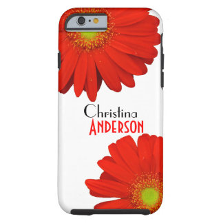 Personalized Cute Orange Gerbera Flowers Tough iPhone 6 Case