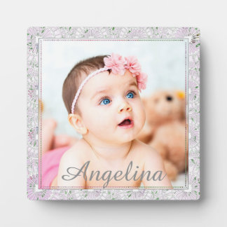 Personalized cute pink and gray Baby Photo Plaque