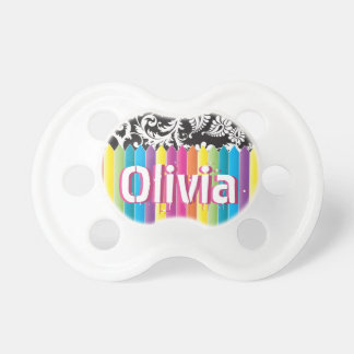 Personalized Cute Pink Crayon Girl's Pacifier