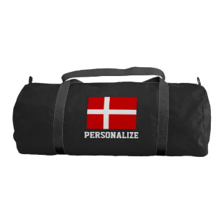 Personalized Danish flag duffle gym bag for sport