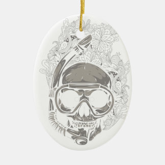 Personalized Dive Utila Honduras Skull Scuba Diver Christmas Ornament