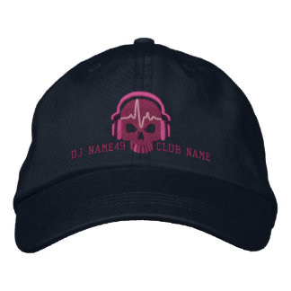 Personalized DJ Skull Your Name Club Embroidery Embroidered Hat