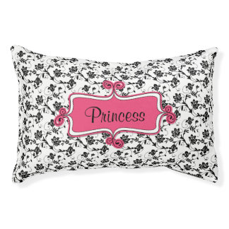 Personalized Dog Bed | Chic Black White Pink