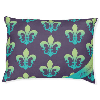 Personalized dog bed Fleur-de-lis Purple green