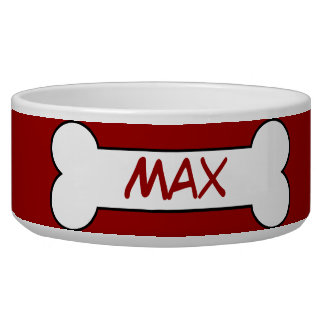 Personalized Dog Bone Ceramic Pet Bowl Red