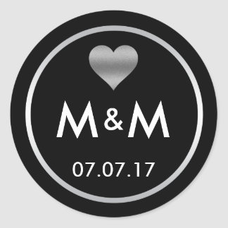Personalized Elegant Black Silver Heart Wedding Classic Round Sticker