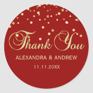 Personalized Elegant Red Gold Wedding Thank You Classic Round Sticker