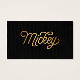 Personalized Elegant Script Mickey Gold Black Business Card