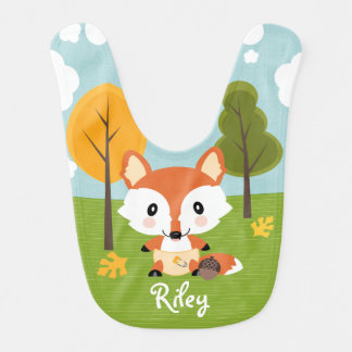 PERSONALIZED FALL FOX IN DIAPERS BIB