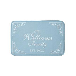 Personalized family last name Est. blue bath mat