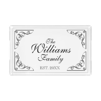 Personalized family last name vanity serving tray