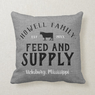 Personalized Feed Supply Grain Sack Cushion