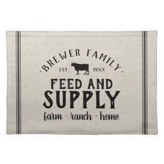 Personalized Feed Supply Grain Sack Placemat