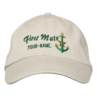 Personalized First Mate Nautical Anchor Green Embroidered Hat