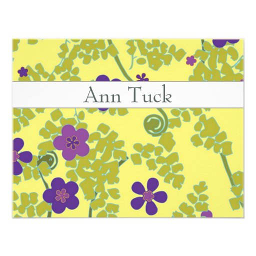 Personalized Flat Note Cards - Maidenhair Fern Invites