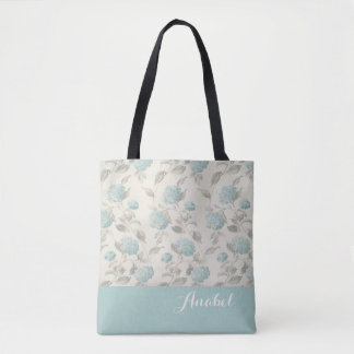 Personalized Floral Blue Hydrangea Tote Bag
