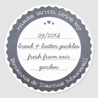 Personalized Food Gift Label Circle Chalkboard Round Sticker