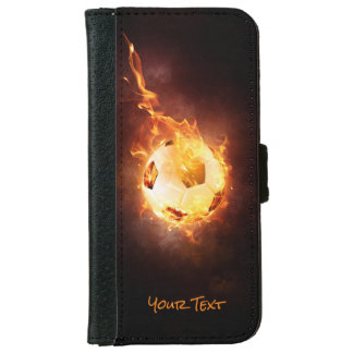 Personalized Football under Fire, Ball, Soccer iPhone 6 Wallet Case