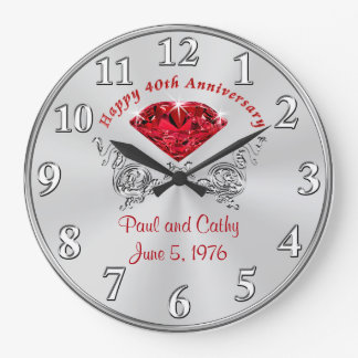 Personalized Fortieth RUBY Anniversary Gift Clock
