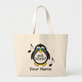 Personalized French Horn Music Penguin Canvas Bags