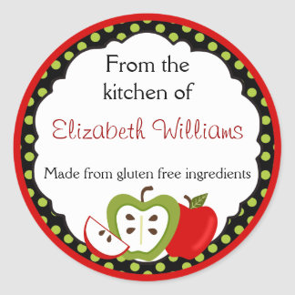 Personalized From The Kitchen Apples Classic Round Sticker