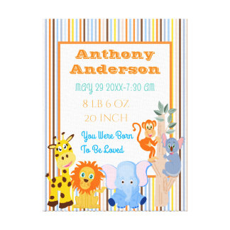 Personalized funny animals baby stats canvas print