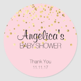 Personalized Girl Pink and Gold Baby Shower Labels