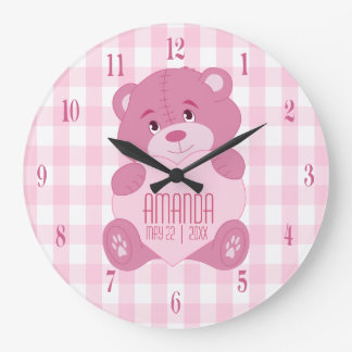 Personalized girly teddy bear with name and date large clock