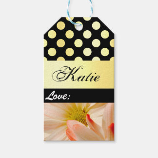 Personalized gold flower gift tag