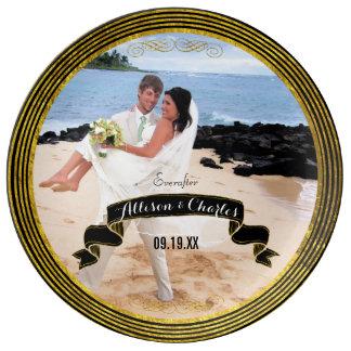 Personalized Gold Stripe Border Wedding Photo Porcelain Plates