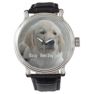 Personalized Golden Retriever Dog Photo and Name Watch