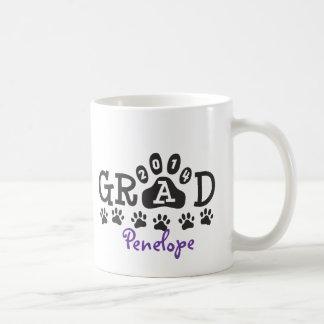 Personalized GRAD 2014 PAWS PURPLE Graduation Classic White Coffee Mug