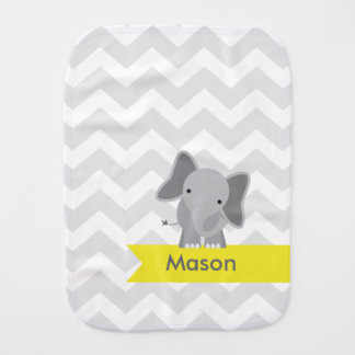 Personalized Gray Yellow Chevron Elephant Burp Cloth